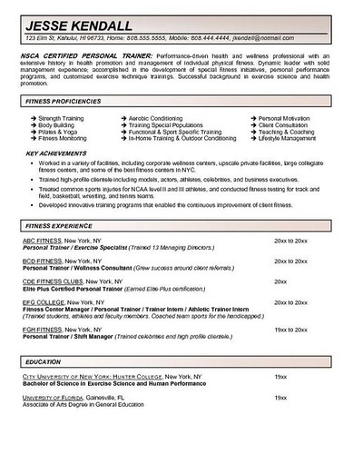 Personal Trainer Resume Work Experience