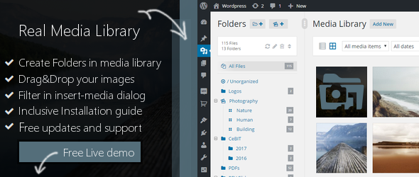 WordPress Real Media Library v2.6.3 – Media Categories / Folders