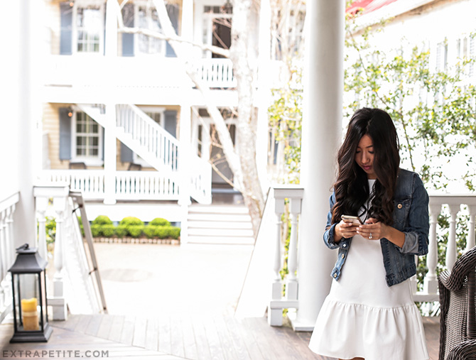 white dress denim jacket spring outfit