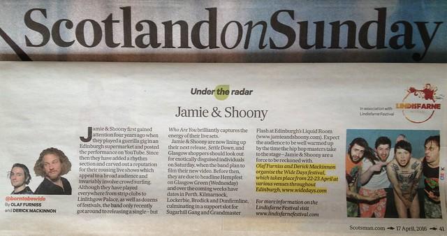 Olaf Furniss and Derick Mackinnon, Scotland On Sunday, 17 April, Jamie & Shoony