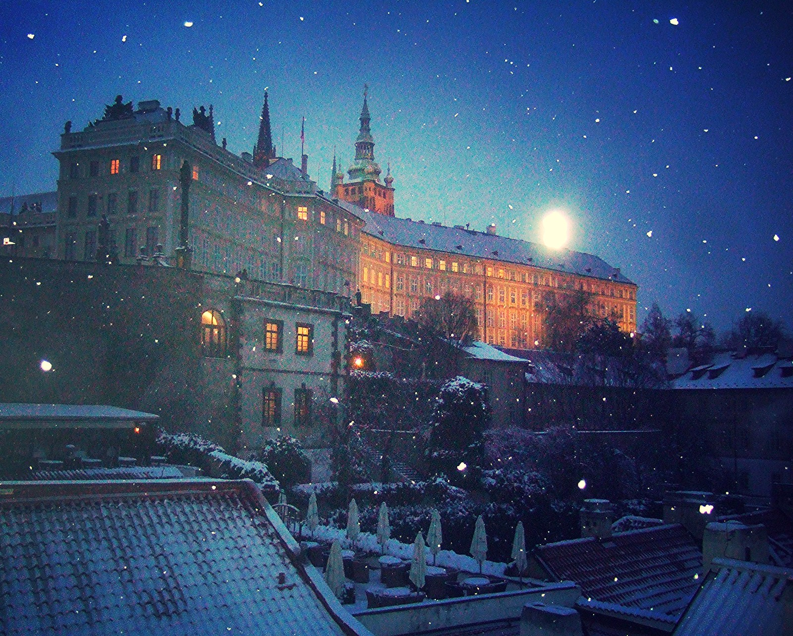 Prague fairy tale in snow