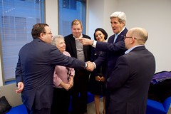 Secretary Kerry Greets Ali Rezaian, Brother of Washington Post Reporter Jason Rezaian, Before a Ceremony to Dedicate New Washington Post Headquarters