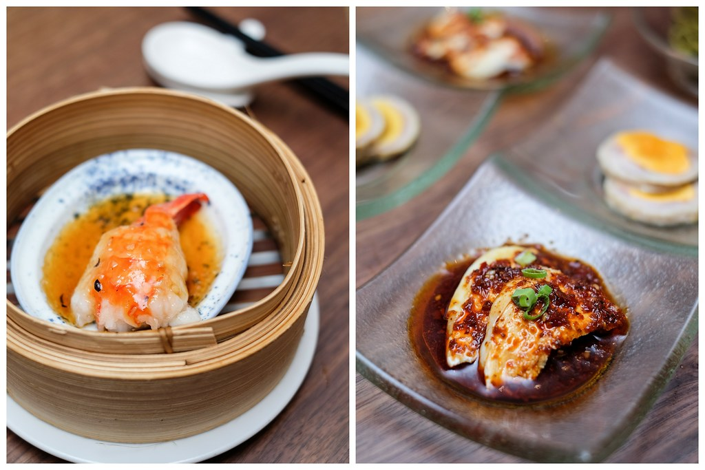Tian Fu Tea Room: Steamed Sliced Prawn in Black Bean Sauce & Steamed Fish Balls with Black Moss