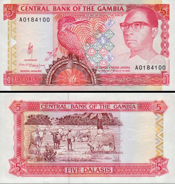 5 Dalasis Gambia 1991-95, P12a UNC