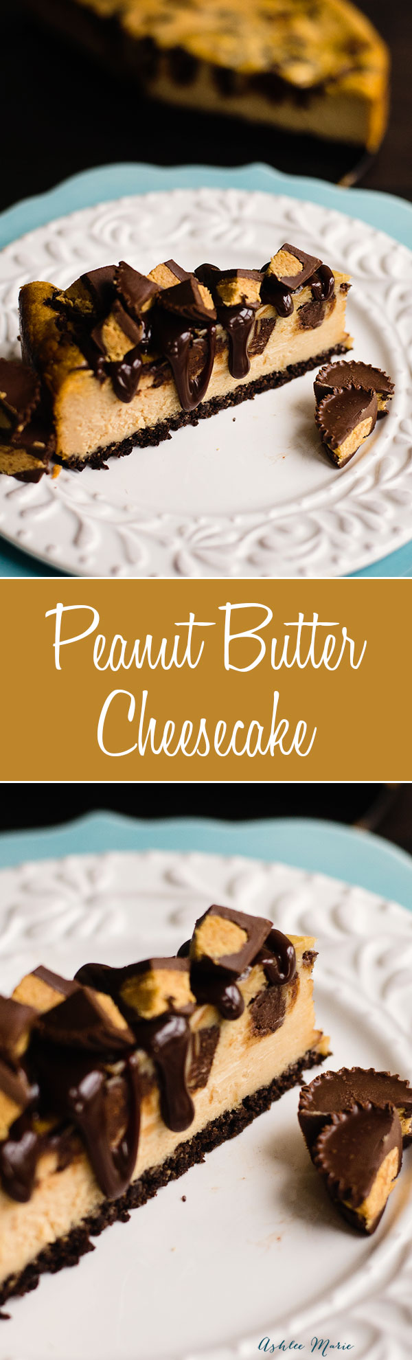 this peanut butter flavored cheesecake has a chocolate crust, with chunks of peanut butter cups and topped with hot fudge