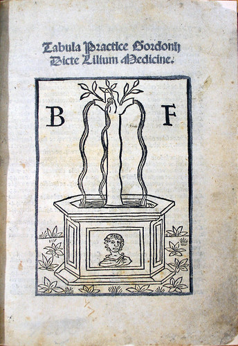 Held by the Royal College of Physicians and Surgeons of Glasgow. Title page with device in Bernardus de Gordonio: Practica, seu Lilium medicinae.