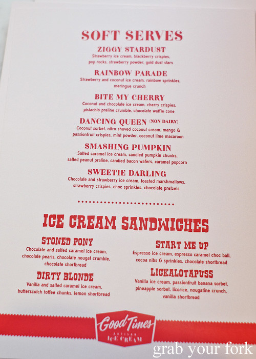 Soft serve and ice cream sandwich menu at Good Times Artisan Ice Cream