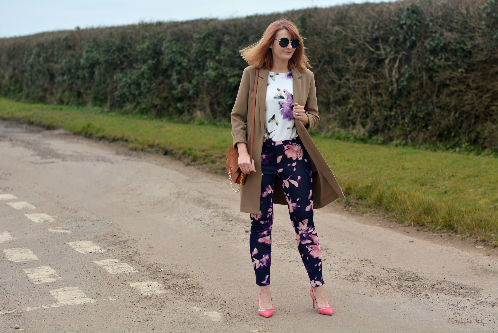 Springtime pattern mixed florals with longline blazer | Not Dressed As Lamb