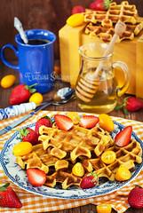 Pumpkin waffles for breakfast