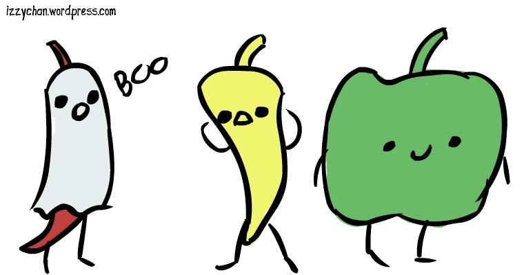 ghost pepper, yellow, green