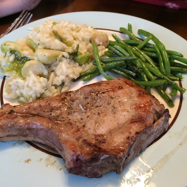 Pork chops, risotto and green beans