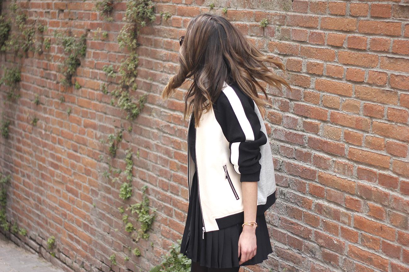 Bomber Mango Black Mango Skirt Black Heels outfit style13