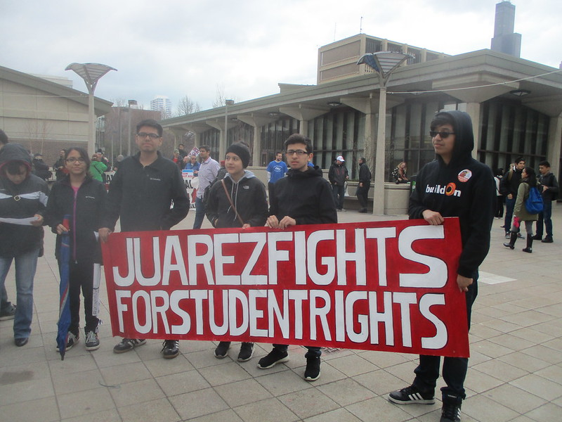 "UIC Rally - ""JUarez Fights for Students"" banner"