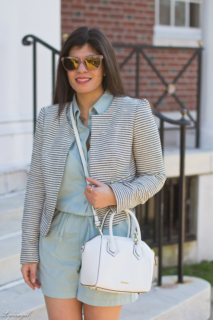 mint romper, striped blazer, lace up flats, white bag-6.jpg