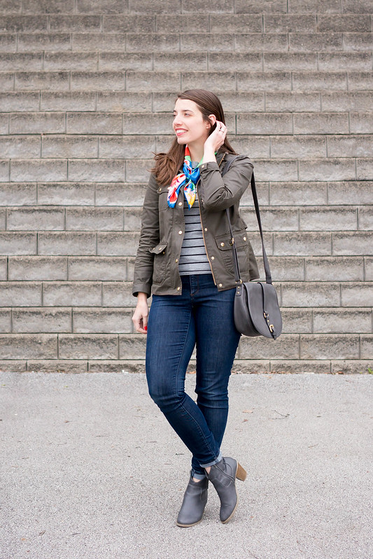 stripes + floral scarf + gray crossbody purse + J.Crew jacket | Style On Target