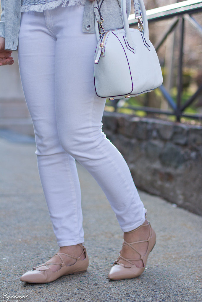white jeans, grey cardigan, nude lace up flats-6.jpg