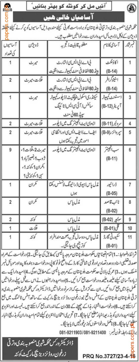 Rural Population Welfare&Development Department Jobs 2016