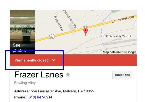 Frazer Lanes Bowling Closed For Sale