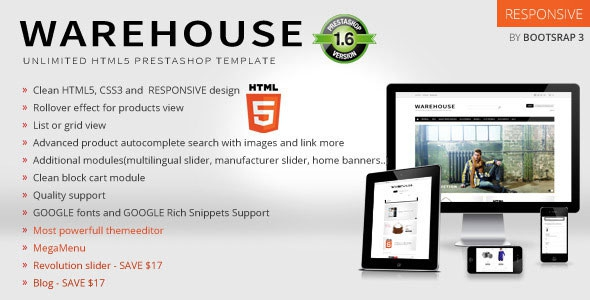 ThemeForest Warehouse v3.7 – Responsive Prestashop 1.6 Theme + Blog