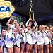 WilmU Wildcat Cheerleaders hold the trophy for their 5th consecutive UCA Small Co-Ed Division II National Championship win at the 2016 finals in Florida on January 19.