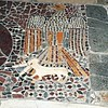 Eagle with fawn (Symbology: The divine Grace raises the soul) - mosaic floor after 1285 - Naples, Cathedral (Minutolo Chapel)