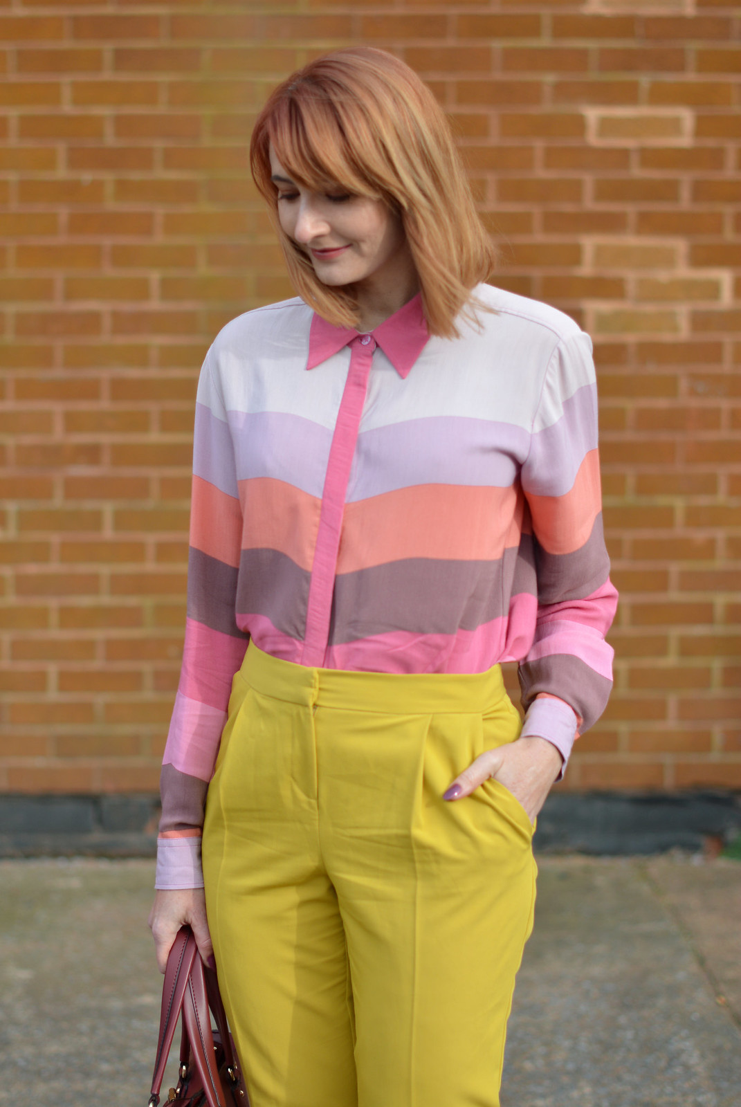 SS16 pastel bright stripes, mustard yellow trousers | Not Dressed As Lamb