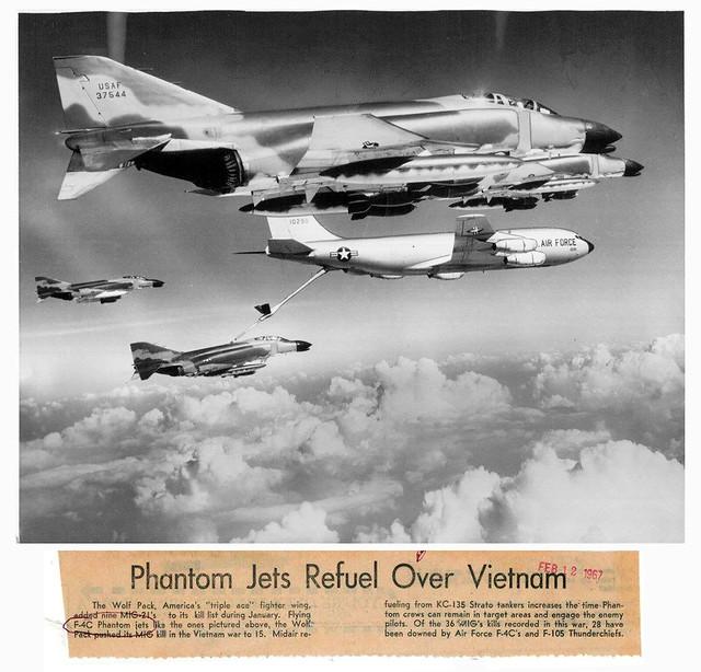 Vietnam War 1966 - F-4 Phantom Jets in Flight Refuel Over Vietnam