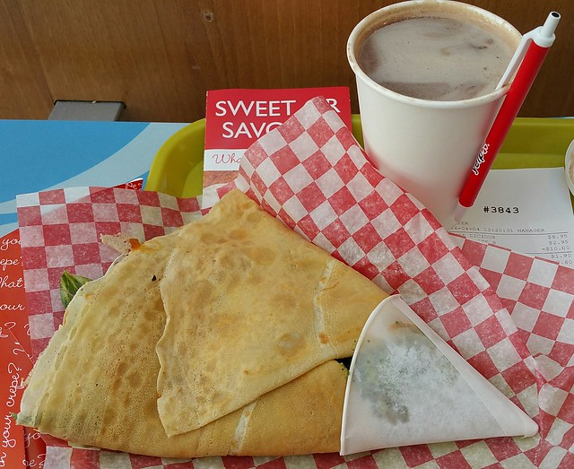 2016-Apr-4 Crepe Delicious - Veggie-Licious crepe, small hot chocolate