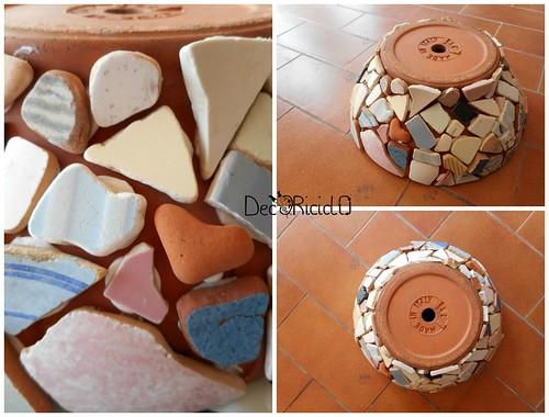 vaso terracotta con mosaico ricicloso 5