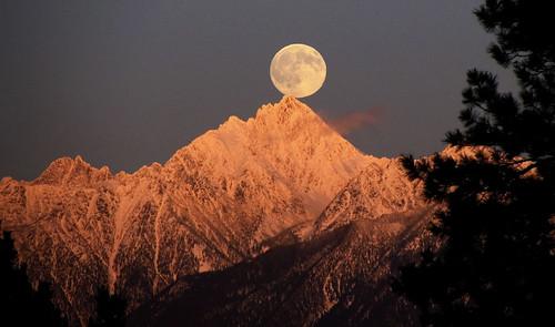 winter sunset sky moon mountain landscape britishcolumbia beautifullight peak 100v10f fullmoon moonrise moonlight rockymountains alpenglow eveninglight eastkootenay fisherpeak