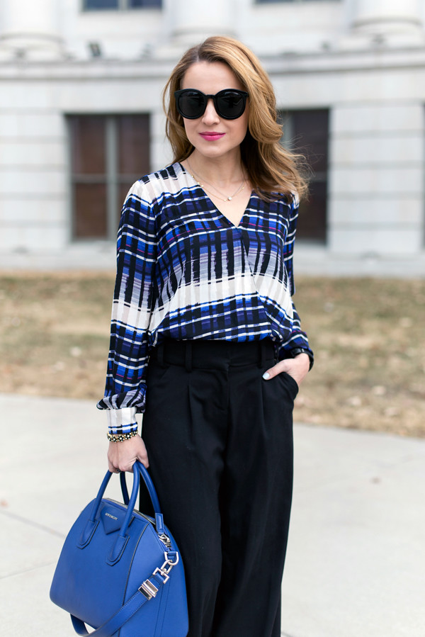 Wrap blouse + wide pants
