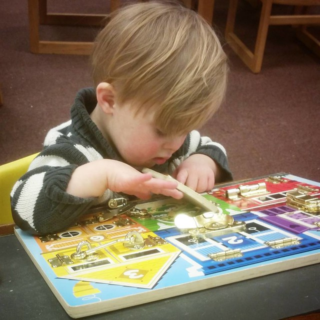 This puzzle. All day, everyday. And even though we have it at home, it's the first thing he runs to at the library! ❤ He doesn't even realize he's getting some extra OT!