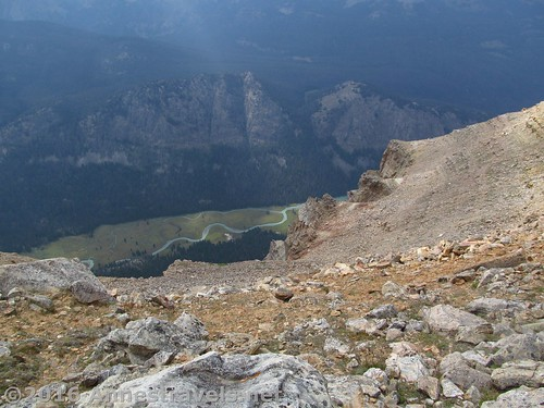 The Green River, far below the summit of White Rock, Wind River Range, Wyoming