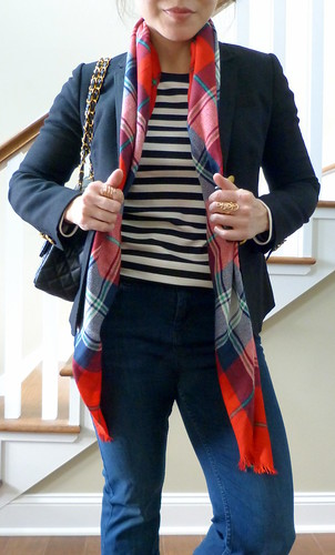 red, plaid, stripes
