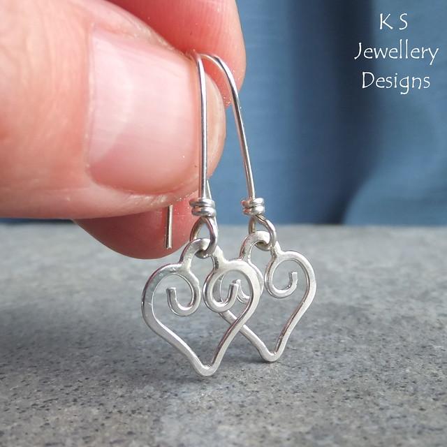 Sterling Silver Wire Heart Charm Earrings