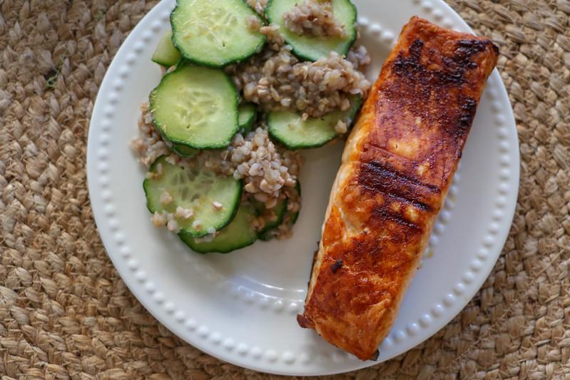 02.27. Caramelized teriyaki salmon with sesame toasted buckwheat