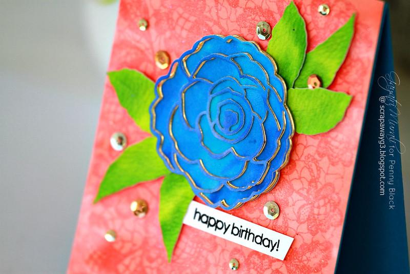 Happy birthday flower closeup card