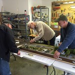 Terry cutting back the track ends on Apex while Todd keeps the modules from shifting