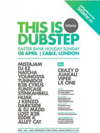 GetDarker presents This Is Dubstep - Easter Party [DJ EZ, Youngsta, Darkside, Hatcha, Funtcase, Eddie K, Hijak, Cyrus, Tunnidge + more - 08.04.2012