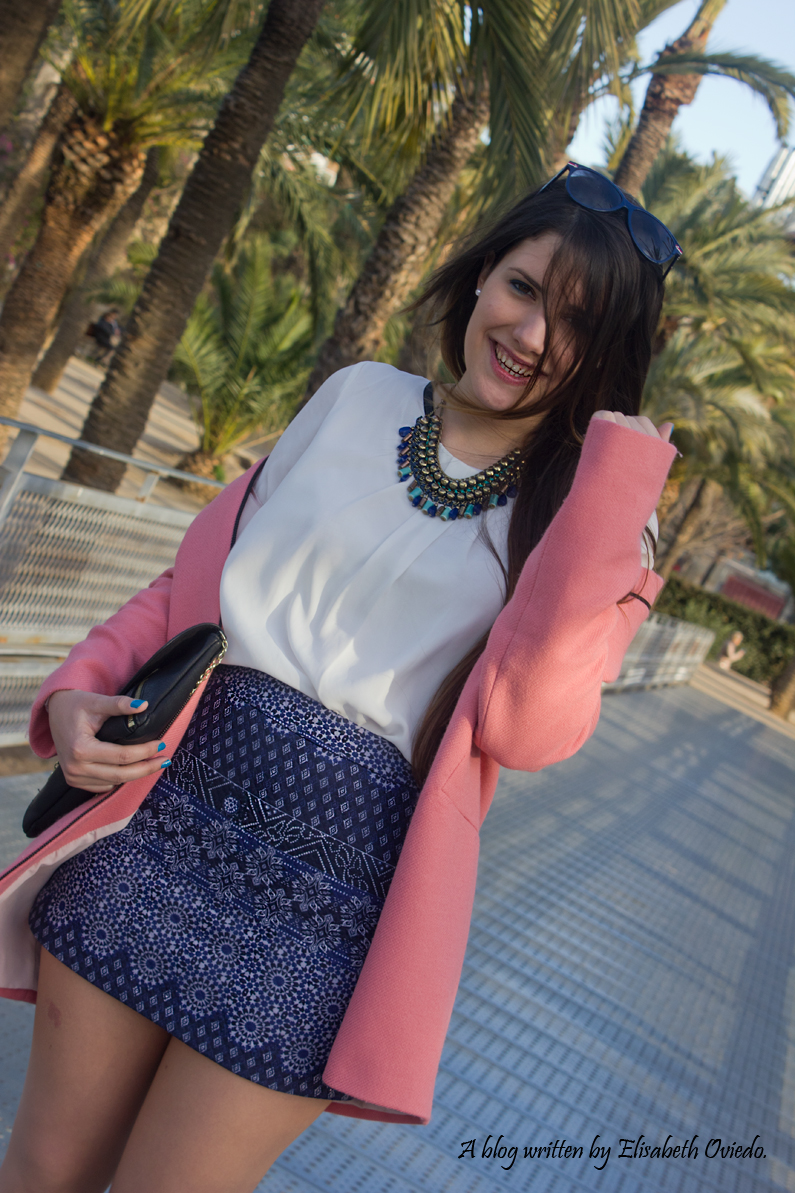 tribal blue skirt with pink coat HEELSANDROSES look (9)