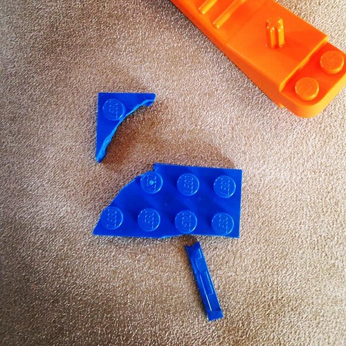 Death by brick separator. A number of blue bricks have failed during disassembly. #LEGO #fail