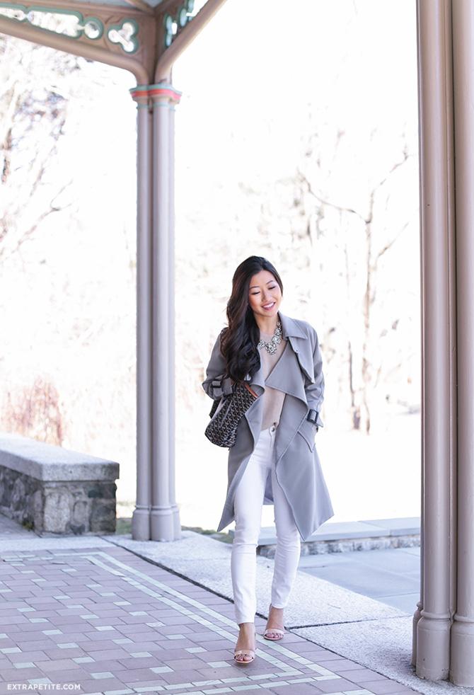 gray trench jacket white jeans spring fashion boston