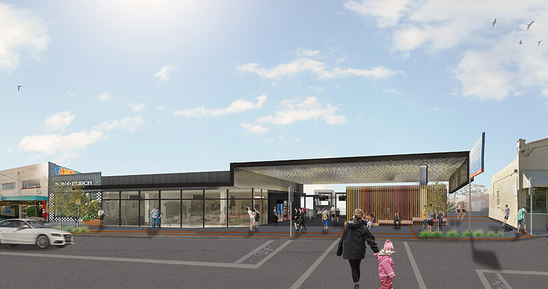 Mckinnon station - Level Crossing Removal Authority render of station entrance design