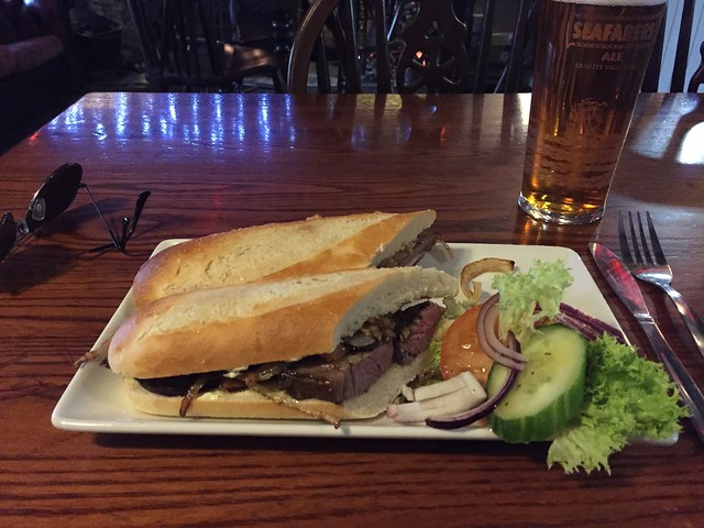 Warm beef topside baguette and a pint of Seafarer's