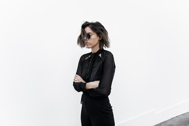 all black workwear inspo street style Karen Millen fashion blogger modern legacy man style sheer cut out shirt  (1 of 15)