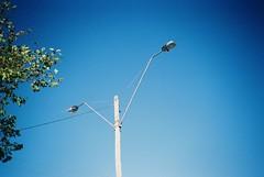 Street lights and blue sky