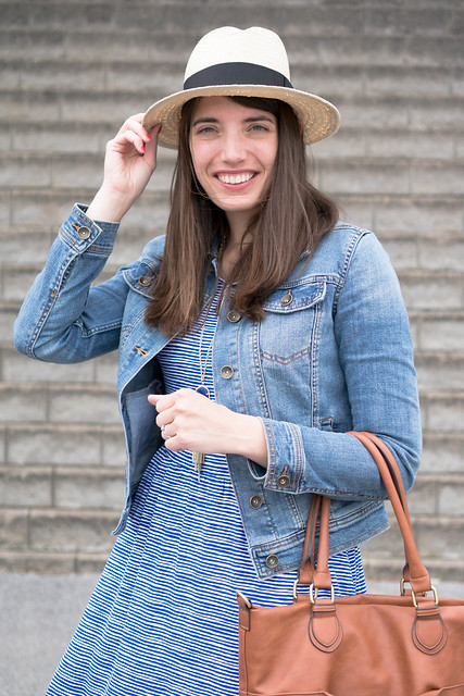 blue and white stripe Old Navy dress + jean jacket + straw hat; summer outfit | Style On Target
