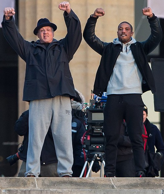 Creed - backstage - Sylvester Stallone and Michael B. Jordan