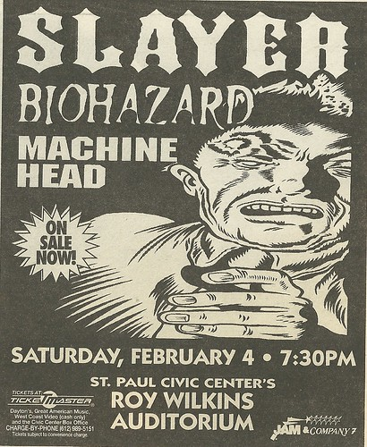 02/04/95 Slayer/ Biohazard/ Machine Head @ Roy Wilikins Auditorium, St. Paul, MN (Ad 001)