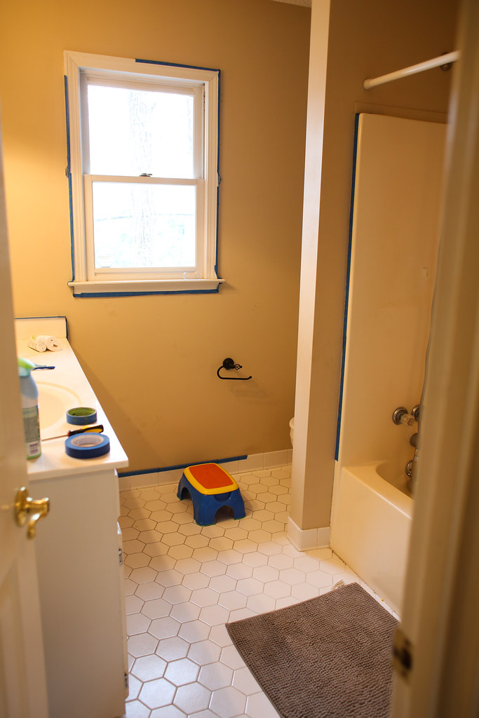 Before and After Guest Bathroom using Glidden Dusty Miller